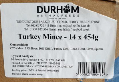 DAF Turkey Mince Box of 14 Label