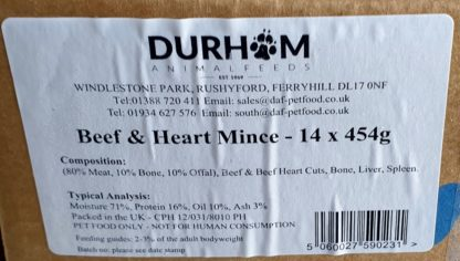 DAF Beef and Heart Box of 14 Label
