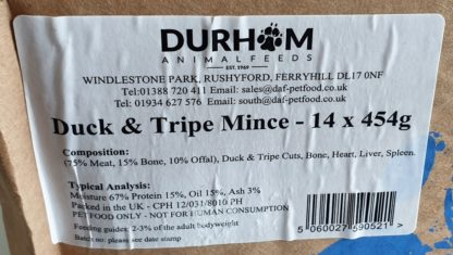DAF Duck and Tripe Box of 14 Label