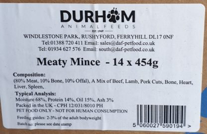 DAF Meaty Mince Box of 14 Label