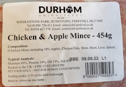 DAF Chicken and Apple Mince Label