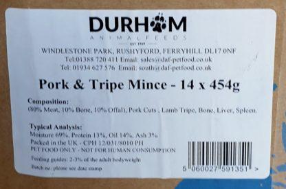 DAF Pork and Tripe Mince Box of 14 Label