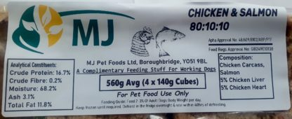 MJ Chicken and Salmon Label