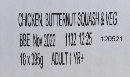 Forthglade Chicken with Butternut Squash and Veg Label
