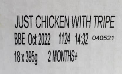 Forthglade Just Chicken with Tripe Label