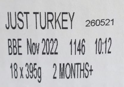 Forthglade Just Turkey Label