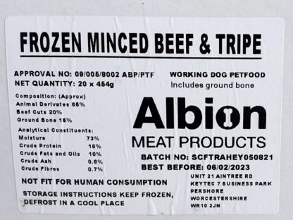 Albion Value Beef and Tripe Label